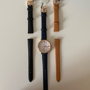 Jacqueline Three-Hand Leather Watch and Straps